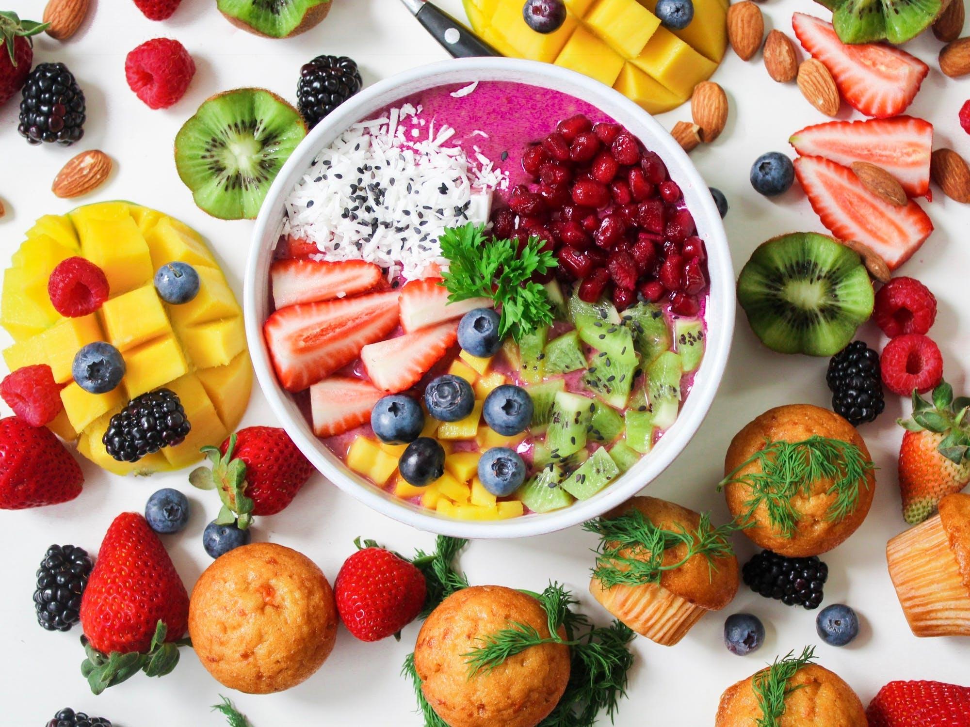 En masse sund mad samlet